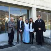 Villar Perosa - Da sinistra Predicatore locale Claudio Tron, Stefano Comba, Alessia Milani, Giulia Toniolo, pastore Davide Ollearo